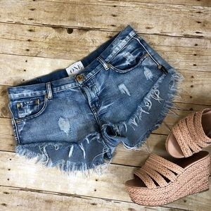 One Teaspoon Distressed Button Fly Cut Off Shorts